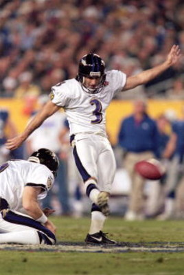 28 Jan 2001:  Matt Stover #3 of the Baltimore Ravens kicks the field goal during the Super Bowl XXXV Game against the New York Giants at the Raymond James Stadium in Tampa, Florida. The Ravens defeated the Giants 34-7.Mandatory Credit: Andy Lyons  /Allspo
