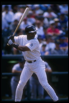 12 Jun 1996:  Outfielder Ellis Burks of the Colorado Rockies prepares to swing during a game against the Houston Astros at Coors Field in Denver, Colorado.  The Rockies won the game, 8-0. Mandatory Credit: Stephen Dunn  /Allsport