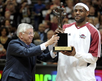 CLEVELAND - MAY 05:  LeBron James #23 of the Cleveland Cavaliers receives 2008-2009 MVP trophy from NBA Commissioner David Stern prior to playing the Atlanta Hawks in Game One of the Eastern Conference Semifinals during the 2009 NBA Playoffs at Quicken Lo