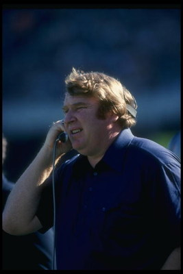 Oakland Raiders head coach John Madden looks on during a game.