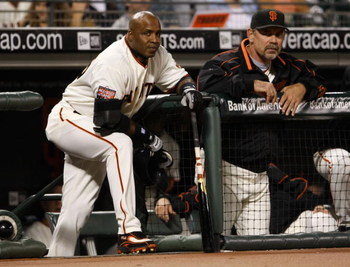 SAN FRANCISCO - SEPTEMBER 26:  Barry Bonds #25 of the San Francisco Giants stands with Giants manager Bruce Bochy #15 before batting in the first inning against the San Diego Padres September 26, 2007 at AT&T Park in San Francisco, California. Tonight wil