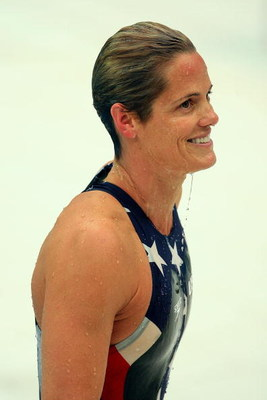 BEIJING - AUGUST 16:  Dara Torres of the United States smiles as she leaves the pool after competing in the Women's 50m Freestyle Semifinal held at the National Aquatics Centre during Day 8 of the Beijing 2008 Olympic Games on August 16, 2008 in Beijing,