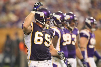 MINNEAPOLIS - SEPTEMBER 21:  Jared Allen #69 of the Minnesota Vikings gestures against the Carolina Panthers during their NFL game at the Hubert H. Humphrey Metrodome on September 21, 2008 in Minneapolis, Minnesota. The Vikings defeated the Panthers 20-10
