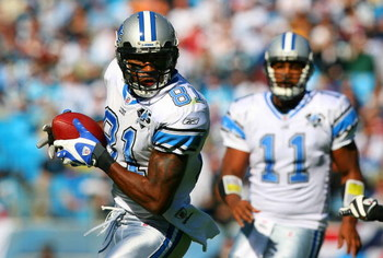 CHARLOTTE, NC - NOVEMBER 16:  Calvin Johnson #81 of the Detroit Lions makes a catch against the Carolina Panthers at Bank of America Stadium on November 16, 2008 in Charlotte, North Carolina.  (Photo by Streeter Lecka/Getty Images)