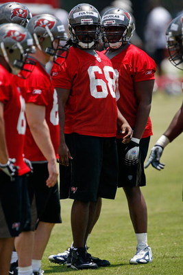 TAMPA - MAY 01:  Offensive tackle Xavier Fulton #68 of the Tampa Bay Buccaneers works out during the Buccaneers Rookie Minicamp at One Buccaneer Place on May 1, 2009 in Tampa, Florida.  (Photo by J. Meric/Getty Images)