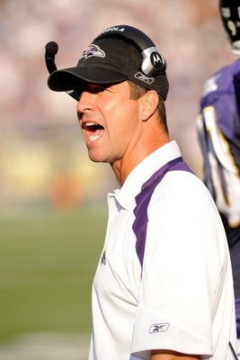 BALTIMORE - SEPTEMBER 21:  Head Coach John Harbaugh of the Baltimore Ravens yells towards the officials during the game against the Cleveland Browns September 21, 2008 at M&amp;T Bank Stadium in Baltimore, Maryland.  (Photo by Greg Fiume/Getty Images)