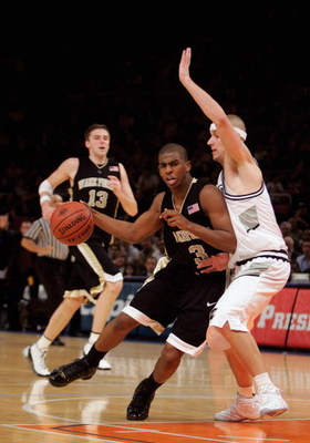 NEW YORK - NOVEMBER 24:  Chris Paul #3 of Wake Forest dribbles the ball against Donni McGrath #1 of Providence during the Preseason NITsemifinals on November 24, 2004 at Madison Square Garden in New York City.  Wake Forest won 79-67.  (Photo by Ezra Shaw/