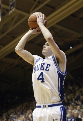 DURHAM, NC - FEBRUARY 20:  J.J. Redick #4 of the Duke Blue Devils shoots during the game against the Wake Forest Demon Deacons at Cameron Indoor Stadium on February 20, 2005 in Durham, North Carolina. The Blue Devils won 102-92.(Photo by Craig Jones/Getty