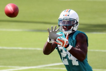 DAVIE, FL - MAY 02:  Rookie cornerback Vontae Davis #24 of the Miami Dolphins catches a ball during mini camp on May 2, 2009 at the Miami Dolphins Training facility in Davie, Florida.  (Photo by Marc Serota/Getty Images)