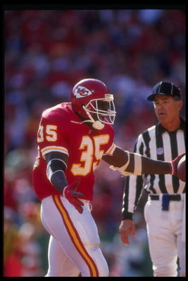 15 Nov 1992: Running back Christian Okoye of the Kansas City Chiefs celebrates during a game against the Washington Redskins at Arrowhead Stadium in Kansas City, Missouri. The Chiefs won the game 35-16.