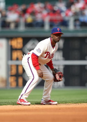 PHILADELPHIA - APRIL 08:  Jimmy Rollins #11 of the Philadelphia Phillies in the field against the Atlanta Braves at Citizens Bank Park on April 8, 2009 in Philadelphia, Pennsylvania.  (Photo by Nick Laham/Getty Images)