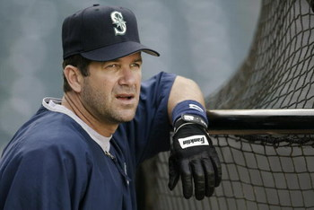 ANAHEIM, CA - APRIL 18:  Edgar Martinez #11 of the Seattle Mariners looks out on the field during batting practice before the game against the Anaheim Angels at Edison Field on April 18, 2003 in Anaheim, California.  The Mariners defeated the Angels 8-2. 