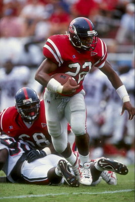 3 Oct 1998:  Tailback Deuce Mcallister #22 of the Mississippi Rebels runs with the ball during a game against the South Carolina Gamecocks at the Vaught-Hemingway Stadium in Oxford, Mississippi. The Rebels defeated the Gamecocks 30-28.