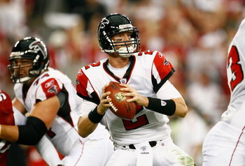 GLENDALE, AZ - JANUARY 03:  Quarterback Matt Ryan #2 of the Atlanta Falcons drops back to pass in the NFC Wild Card Game against the Arizona Cardinals on January 3, 2009 at University of Phoenix Stadium in Glendale, Arizona. The Cardinals defeated the Fal
