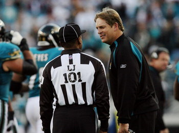 JACKSONVILLE, FL - NOVEMBER 16: Head coach Jack Del Rio of the Jacksonville Jaguars appeals to line judge Carl Johnson while taking on the Tennessee Titans at Jacksonville Municipal Stadium on November 16, 2008 in Jacksonville, Florida.  (Photo by Doug Be