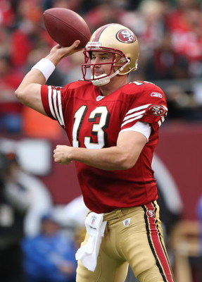 SAN FRANCISCO - DECEMBER 07:  Shaun Hill #13 of the San Francisco 49ers passes against the New York Jets during an NFL game on December 7, 2008 at Candlestick Park in San Francisco, California.  (Photo by Jed Jacobsohn/Getty Images)