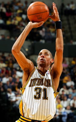 INDIANAPOLIS - MAY 15:  Reggie Miller #31 of the Indiana Pacers takes a free throw shot in the second half against the Detroit Pistons in Game four of the Eastern Conference Semifinals during the 2005 NBA Playoffs on May 15, 2005 at Conseco Fieldhouse in