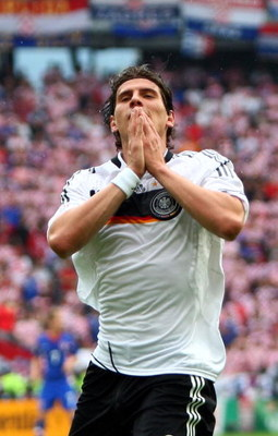 KLAGENFURT, AUSTRIA - JUNE 12: Mario Gomez of Germany reacts during the UEFA EURO 2008 Group B match between Croatia and Germany at Worthersee Stadion on June 12, 2008 in Klagenfurt, Austria.  (Photo by Clive Mason/Getty Images)