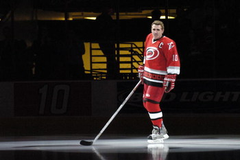 RALEIGH, NC - JANUARY 28: Ron Francis #10 of the Carolina Hurricanes skates his final lap during 'Ron Francis Night' before the game against the Atlanta Thrashers  on January 28, 2006, at the RBC Center in Raleigh, North Carolina. Carolina won 4-1. (Photo