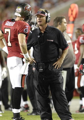 TAMPA, FL - OCTOBER 19: Coach Jon Gruden with quarterback Jeff Garcia #7 of the Tampa Bay Buccaneers during play against the Seattle Seahawks at Raymond James Stadium on October 19, 2008 in Tampa, Florida.  (Photo by Al Messerschmidt/Getty Images)