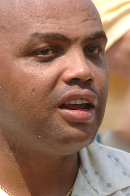 UNITED STATES - MAY 19:  Charles Barkley talks to the media after the Thursday Pro Am at the 2005 Bruno's Memorial Classic, May 19, in Birmingham.  (Photo by Al Messerschmidt/Getty Images)