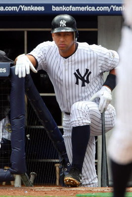 NEW YORK - MAY 17:  Alex Rodriguez #13 of the New York Yankees looks on against the Minnesota Twins on May 17, 2009 at Yankee Stadium in the Bronx borough of New York City. The Yankees defeated the Twins 3-2 in ten innings.  (Photo by Jim McIsaac/Getty Im