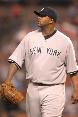 BALTIMORE, MD - MAY 8:  CC Sabathia.#52 of the New York Yankees looks on during a baseball game against the Baltimore Orioles on May 8, 2009 at Camden Yards in Baltimore, Maryland.  (Photo by Mitchell Layton/Getty Images)