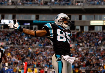 CHARLOTTE, NC - DECEMBER 14:  Steve Smith #89 of the Carolina Panthers celebrates after scoring a touchdown against the Denver Broncos at Bank of America Stadium on December 14, 2008 in Charlotte, North Carolina  (Photo by Streeter Lecka/Getty Images)