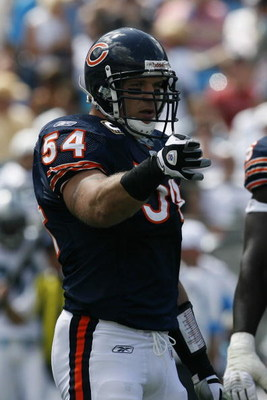 CHARLOTTE, NC - SEPTEMBER 14:  Brian Urlacher #54 of the Chicago Bears looks on during the game against the Carolina Panthers at Bank of America Stadium on September 14, 2008 in Charlotte, North Carolina. (Photo by Kevin C. Cox/Getty Images)