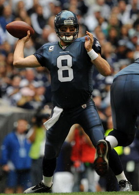 IRVING, TX - NOVEMBER 27:  Quarterback Matt Hasselbeck #8 of the Seattle Seahawks drops back to pass against the Dallas Cowboys in the first quarter at Texas Stadium on November 27, 2008 in Irving, Texas.  (Photo by Ronald Martinez/Getty Images)