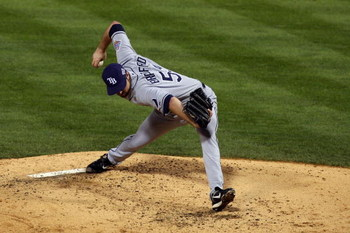 PHILADELPHIA - OCTOBER 29:  Chad Bradford #53 of the Tampa Bay Rays throws a pitch against the Philadelphia Phillies during the continuation of game five of the 2008 MLB World Series on October 29, 2008 at Citizens Bank Park in Philadelphia, Pennsylvania.