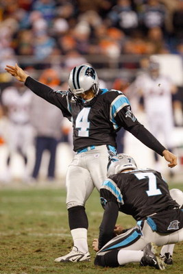 CHARLOTTE, NC - DECEMBER 14:  John Kasay #4 of the Carolina Panthers kicks a field goal during the game against the Denver Broncos at Bank of America Stadium on December 14, 2008 in Charlotte, North Carolina. (Photo by: Streeter Lecka/Getty Images)