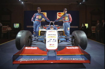 29 Feb 1997:  Lola drivers Vincenzo Sospiri of Italy (left), Andrea Montermini of Italy (right) and Ricardo Rosset of Brazil (in car)  during the Lola Team Launch at the Hilton Hotel in London. \ Mandatory Credit: Gary M Prior /Allsport