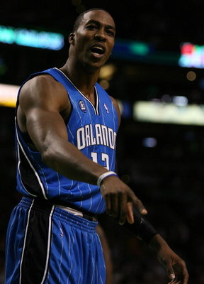 BOSTON - MAY 12:  Dwight Howard #12 of the Orlando Magic reacts after he is called for a foul in the second half against the Boston Celtics in Game Five of the Eastern Conference Semifinals during the 2009 NBA Playoffs at TD Banknorth Garden May 12, 2009