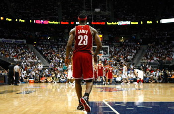 ATLANTA - MAY 11:  LeBron James #23 of the Cleveland Cavaliers walks on the court during a free throw against the Atlanta Hawks during Game Four of the Eastern Conference Semifinals during the 2009 NBA Playoffs at Philips Arena on May 11, 2009 in Atlanta,