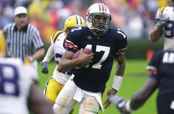 AUBURN, AL - OCTOBER 26:  Quarterback Jason Campbell #17 of Auburn goes for a long run against LSU in the second half of the SEC matchup on October 26, 2002 at Jordan-Hare Stadium in Auburn, Alabama.  Auburn defeated LSU 31-7.  (Photo by Erik S. Lesser/Ge