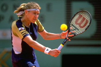 26 May 1999:  Steffi Graf of Germany in action during the French Open at Roland Garros in Paris. \ Mandatory Credit: Clive Brunskill /Allsport