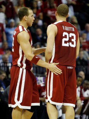 MEMPHIS, TN - MARCH 29:  (L-R) Taylor Griffin #32 of the Oklahoma Sooners talks with brother Blake Griffin #23 while taking on the North Carolina Tar Heels during the NCAA Men's Basketball Tournament South Regional Final at the FedExForum on March 29, 200