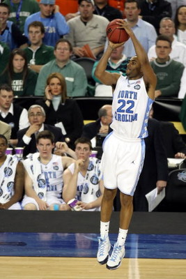 DETROIT - APRIL 04:  Wayne Ellington #22 of the North Carolina Tar Heels shoots a three-pointer against the Villanova Wildcats during the National Semifinal game of the NCAA Division I Men's Basketball Championship at Ford Field on April 4, 2009 in Detroi