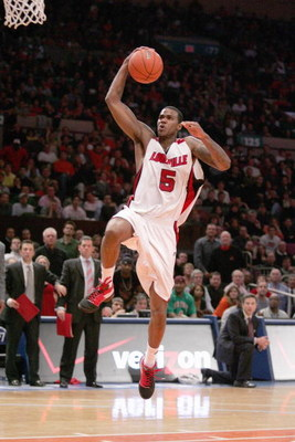 NEW YORK - MARCH 14:  Earl Clark #5 of the Louisville Cardinals makes a layup against the Syracuse Orange during the championship game of the Big East Tournament at Madison Square Garden on March 14, 2009 in New York City. (Photo by: Michael Heiman/Getty