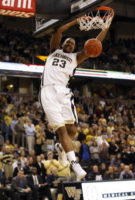 WINSTON-SALEM, NC - FEBRUARY 18:  James Johnson #23 of the Wake Forest Demon Deacons goes up for the slam dunk during their game against the Georgia Tech Yellow Jackets at Lawrence Joel Coliseum on February 18, 2009 in Winston-Salem, North Carolina. The D
