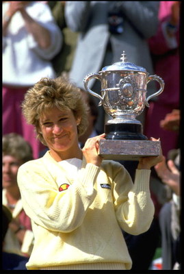 MAY 1985:  CHRIS EVERT OF THE UNITED STATES HOLDS THE FRENCH OPEN TROPHY AFTER WINNING THE LADIES SINGLES IN PARIS AT THE STADE ROLAND GARROS.