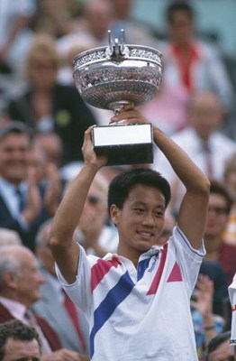 American tennis player Michael Chang at the French Open in Paris, 1989. He won the tournament, becoming the youngest male winner of a Grand Slam singles event at the age of 17. (Photo by Bob Martin/Getty Images)