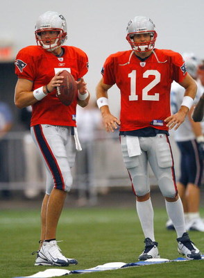 FOXBORO, MA - JULY 24:  Tom Brady #12 and Kevin O'Connell #5 of the New England Patriots participate in a drill during the first day of training camp at Gillette Stadium on July 24, 2008 in Foxboro, Massachusetts.  (Photo by Jim Rogash/Getty Images)