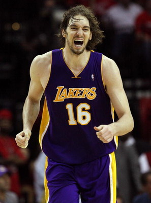 HOUSTON - MAY 14:  Forward Pau Gasol #16 of the Los Angeles Lakers reacts during play against the Houston Rockets in Game Six of the Western Conference Semifinals during the 2009 NBA Playoffs at Toyota Center on May 14, 2009 in Houston, Texas. NOTE TO USE
