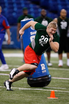 INDIANAPOLIS, IN - FEBRUARY 23:  Defensive lineman Mitch King of Iowa participates in the NFL Scouting Combine at Lucas Oil Stadium on February 23, 2009 in Indianapolis, Indiana. (Photo by Scott Boehm/Getty Images)