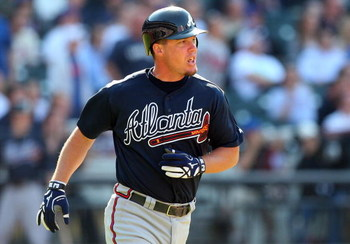 NEW YORK - MAY 13:  Chipper Jones #10 of the Atlanta Braves runs against the New York Mets on May 13, 2009 at Citi Field in the Flushing neighborhood of the Queens borough of New York City. The Braves defeated the Mets 8-7 in twelve innings.  (Photo by Ji