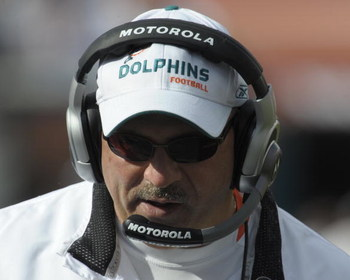 MIAMI, FL - JANUARY 4:  Coach Tony Sparano of the Miami Dolphins directs play against the Baltimore Ravens in an NFL Wildcard Playoff Game at Dolphins Stadium on January 4, 2009 in Miami, Florida.  (Photo by Al Messerschmidt/Getty Images)
