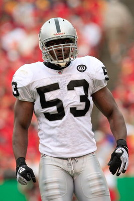 KANSAS CITY, MO - SEPTEMBER 14:  Thomas Howard #53 of the Oakland Raiders looks on during their NFL game against the Kansas City Chiefs at Arrowhead Stadium on September 14, 2008 in Kansas City, Missouri. The Raiders defeated the Chiefs 23-8. (Photo by Ja