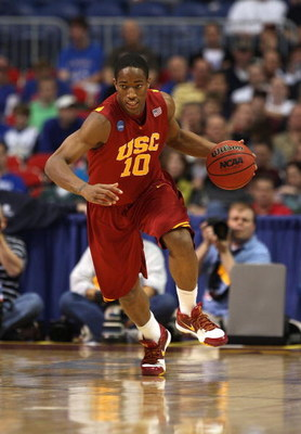 MINNEAPOLIS - MARCH 22:  DeMar DeRozan #10 of the USC Trojans brings the ball up court against the Michigan State Spartans during the second round of the NCAA Division I Men's Basketball Tournament at the Hubert H. Humphrey Metrodome on March 22, 2009 in